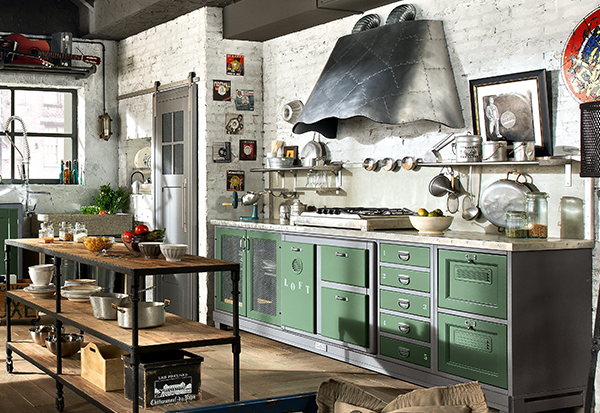 Cucina in stile industriale vintage mobili toson for Arredamento urban country